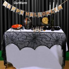 OurWarm Cobweb Fireplace Scarf Halloween Party Decoration Black Lace Spider Web Mantle Table Cover Backdrop Decor