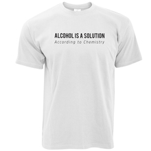 Retro 100% Cotton Print T Shirt Tee Alcohol Is A Solution According To Chemistry Funny Science Fashion Short O-Neck Mens