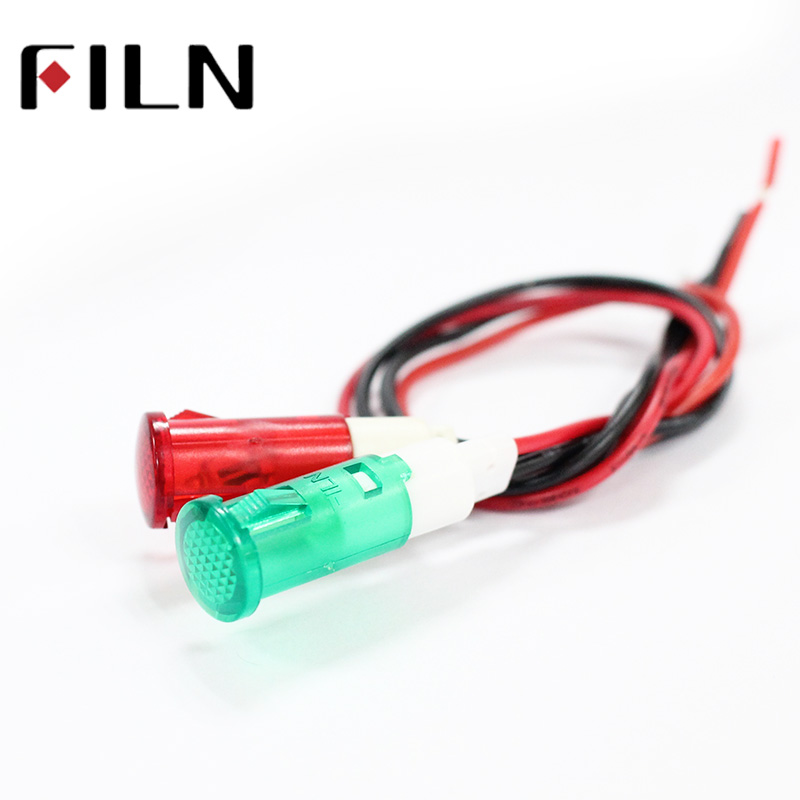 FILN 10mm Diameter 6v 12v 24v 120v 220v Plastic Red Yellow Green Water Heater Indicator Light With Wire