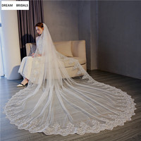 Custom Made 3x3 Meters Cathedral Wedding Veil One Layer White/Ivory Lace Bridal Veils 2019 New Arrival