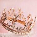 Colorido ouro jóia nupcial tiara cabelo jóias moda rodada elegante quinceanera crown headpiece bridal acessórios do cabelo do casamento