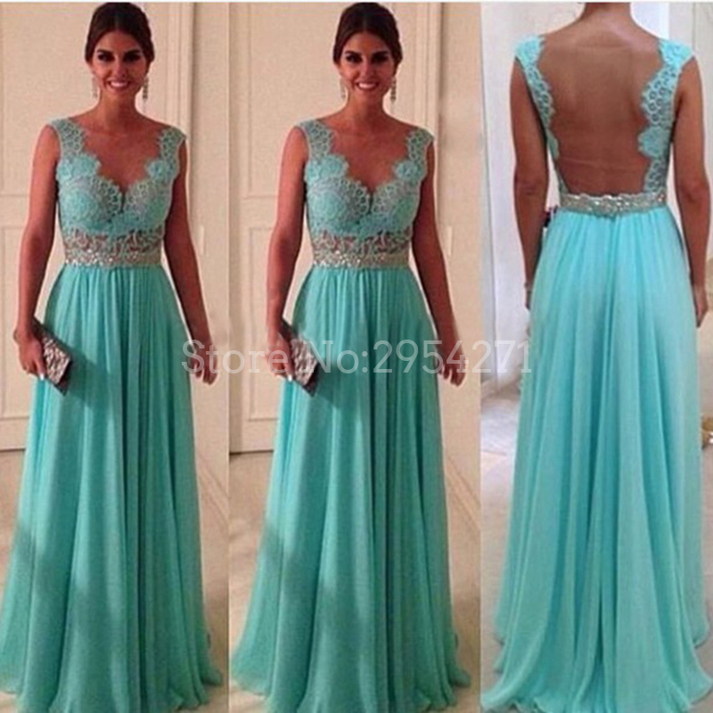 Tiffany Blue Prom Dresses A Line Scoop Neck With Silver Sash Sheer ...
