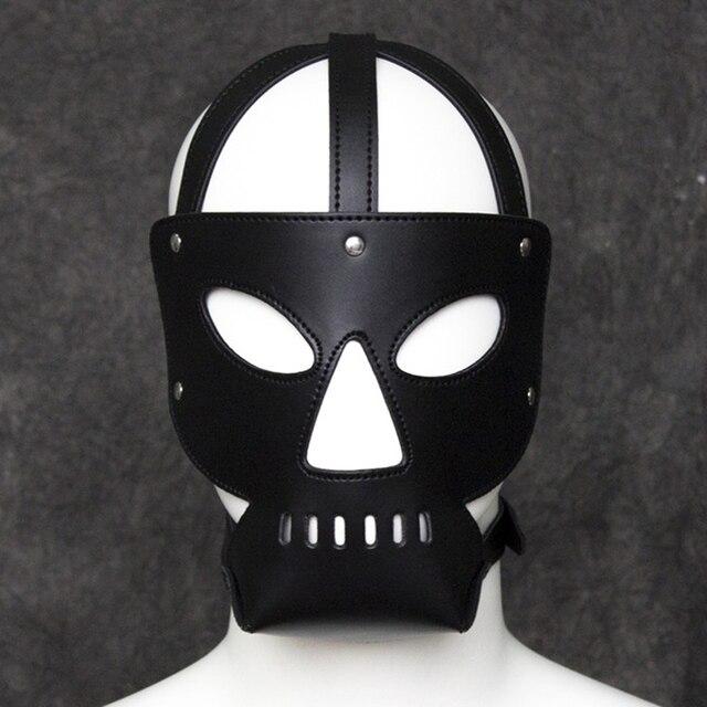 Halloween Spelletjes Volwassenen.Us 13 19 34 Off Kunstleer Sex Masker Voor Man Fetish Bondage Masker Kap Volwassen Spelletjes Speelgoed Scary Halloween Maskers Voor Volwassenen