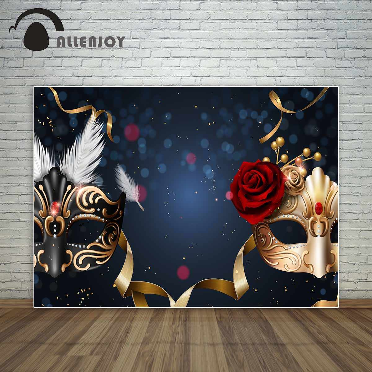 Allenjoy black and golden masks red rose dance party prom backdrop masquerade party golden ribbons background vinyl photography