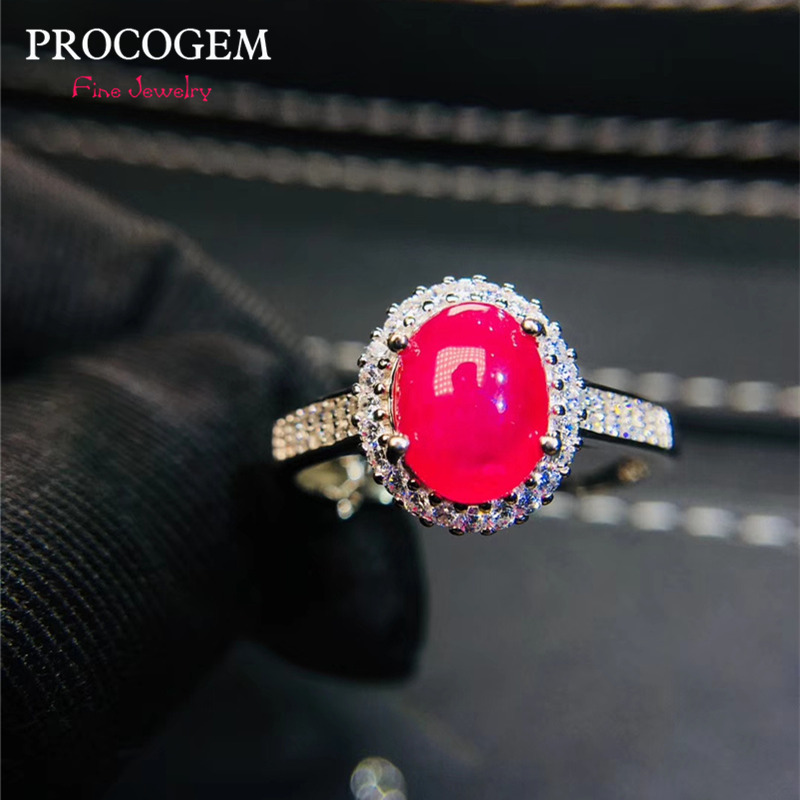 Natural Ruby Oval Rings for Women Wedding Party gifts 7x9mm 2.2Ct Genuine gemstones Fine jewelry 925 Sterling Silver #414
