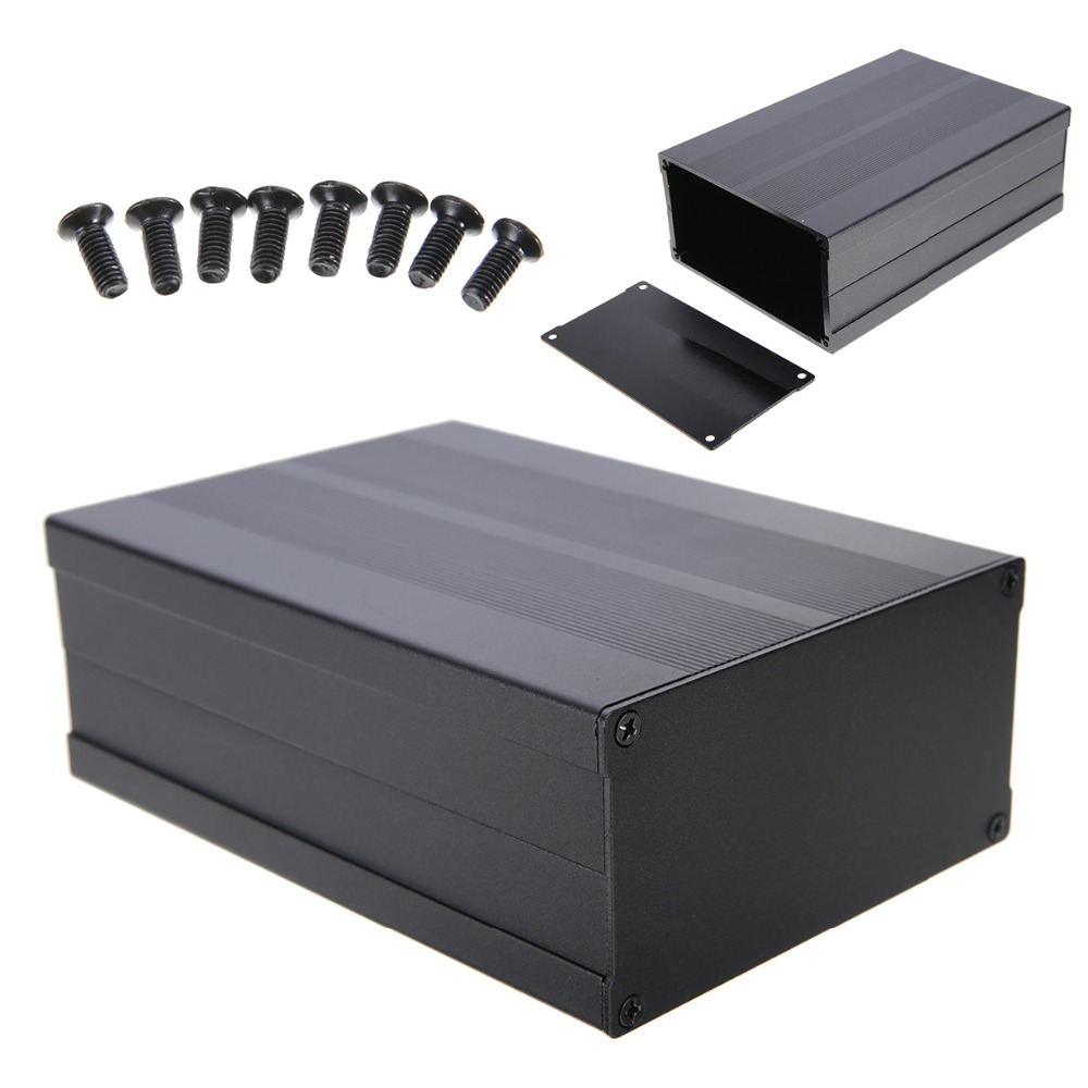 1pc Aluminum PCB Instrument Box Black Aluminum Enclosure Electronic Project Case Circuit Board with Screws 150x105x55mm