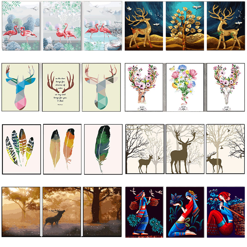 DIY Oil Painting By Numbers Deer Trees Triptych Pictures Animal Abstract Paint Wall Sticker Coloring Landscape Gift Home Decor