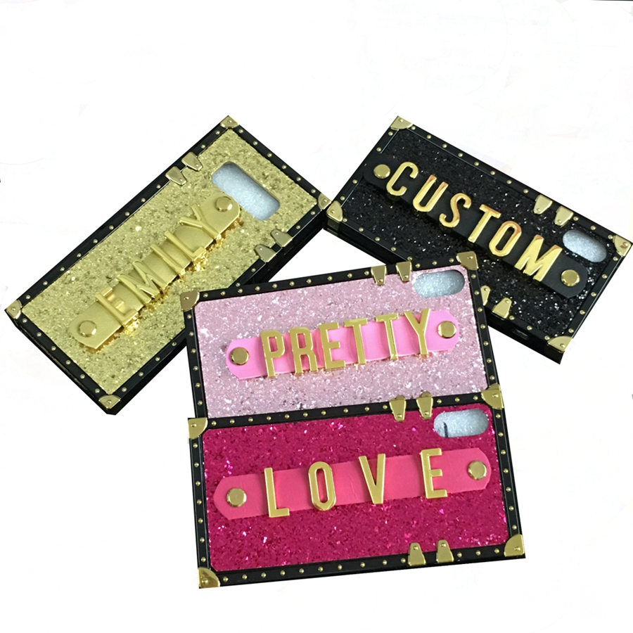 Image 5 - for iphone 7 X 11 for Samsung galaxy s8 s9 s10 plus note 8 9 10 A20 A30 A50 M20 M30 J4 J6 Custom name letter square phone case-in Rhinestone Cases from Cellphones & Telecommunications
