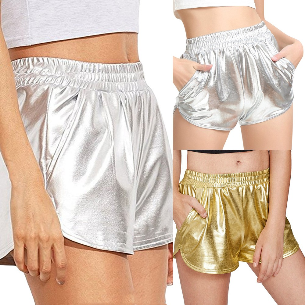 Womail Women Short Fashion High Waist Sport Shorts Shiny Metallic Solid Casual Lady Dropship J16