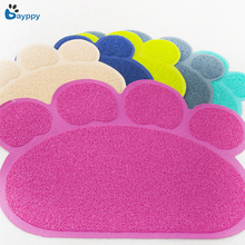 Plus Size Paw Print Dog Cat Litter Mat Puppy Kitty Dish Feeding Bowl Placemat Tray Tidy Non-Slip Design Pet Pad 6 Colors