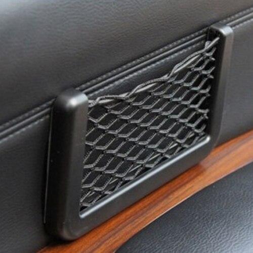 organizador coche Universal Car Seat Side Back Storage car accessories Net Bag Phone Holder Pocket Organizer Black  5