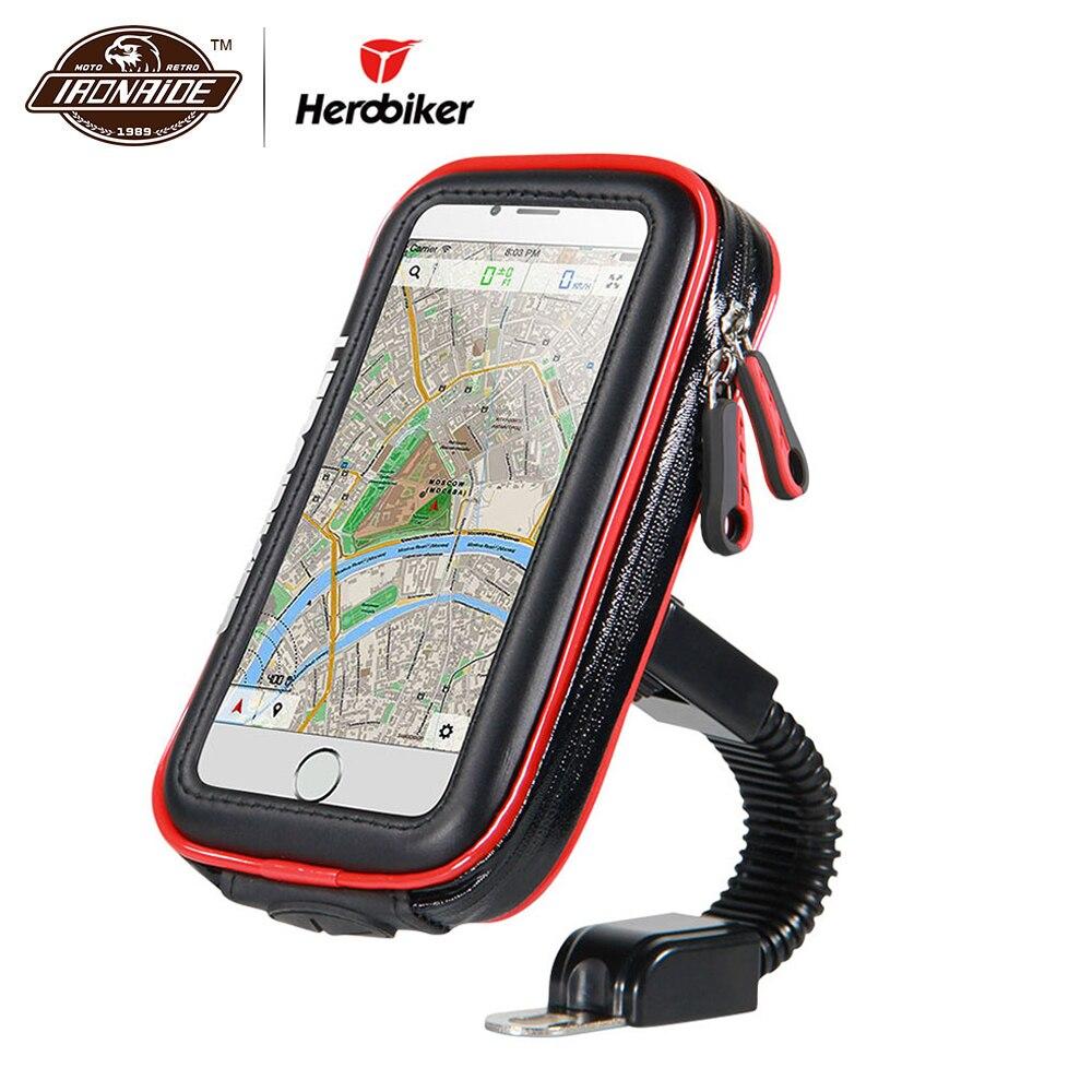 HEROBIKER Moto Téléphone Titulaire Soutien Étanche Moto Mobile Téléphone Stand Cas Sacs pour Pour iPhone X 8 7 6 6 s Plus SamSung
