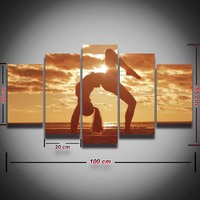 Printed Poster Sexy Girl Yoga Exercise Sunset Seascape Picture Painting 5 Panel Wall Decor For Living