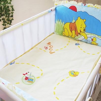 Promoção! 5 pcs malha crib bedding set dos desenhos animados do bebê do algodão conjunto bumpers berço bedding set, incluem (4 amortecedores + folha)