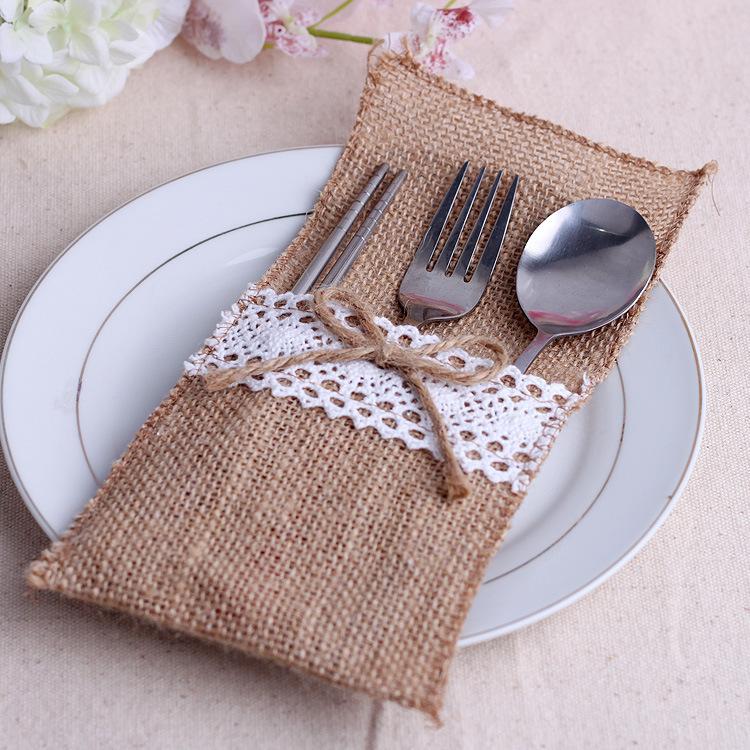bolsa de boda hecho a mano decoracin del cordn de lino creativo decorar cuchillo y tenedor