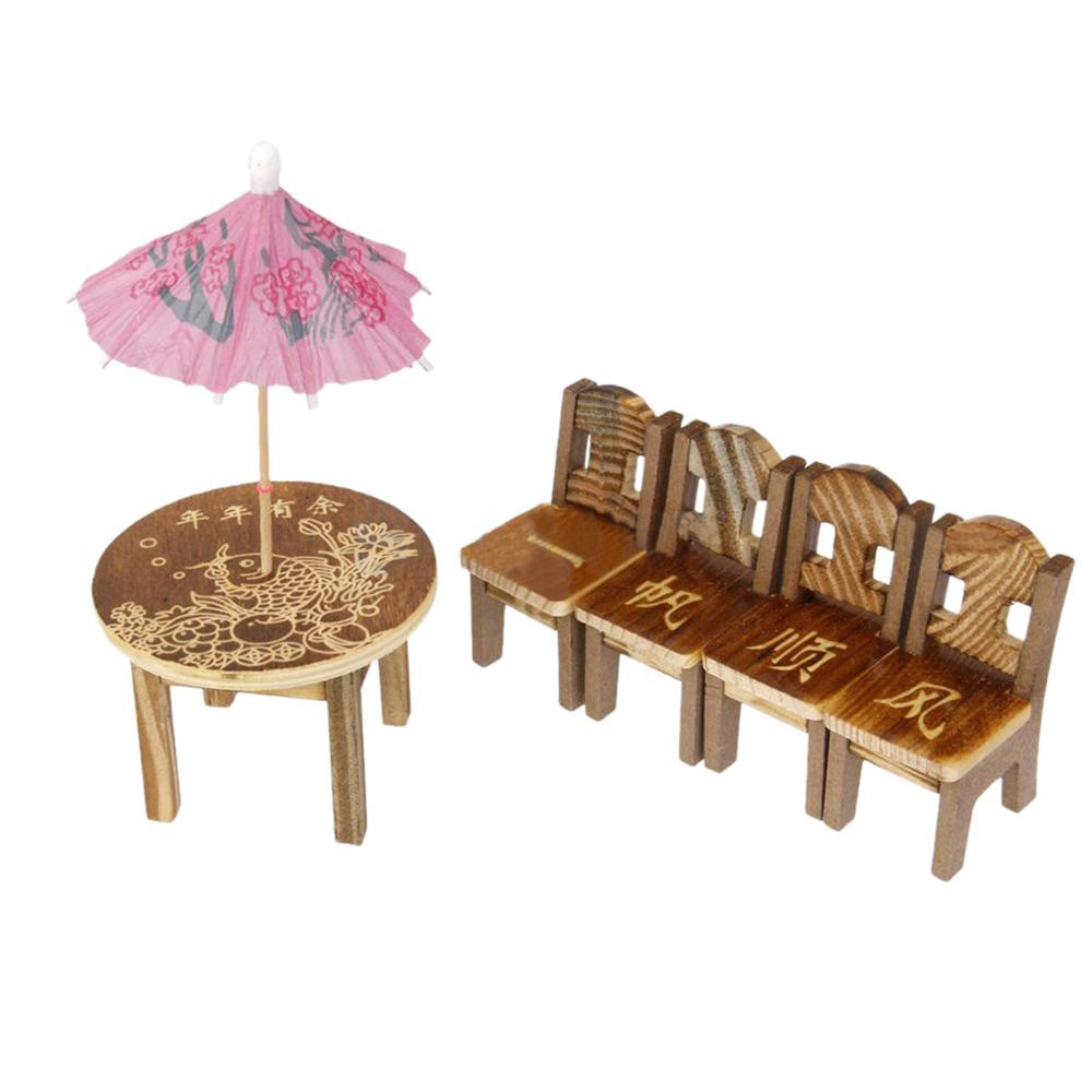 1pc Table /& 4pcs Chair Wooden Dollhouse Miniature Furniture Mini Dining Room  Z