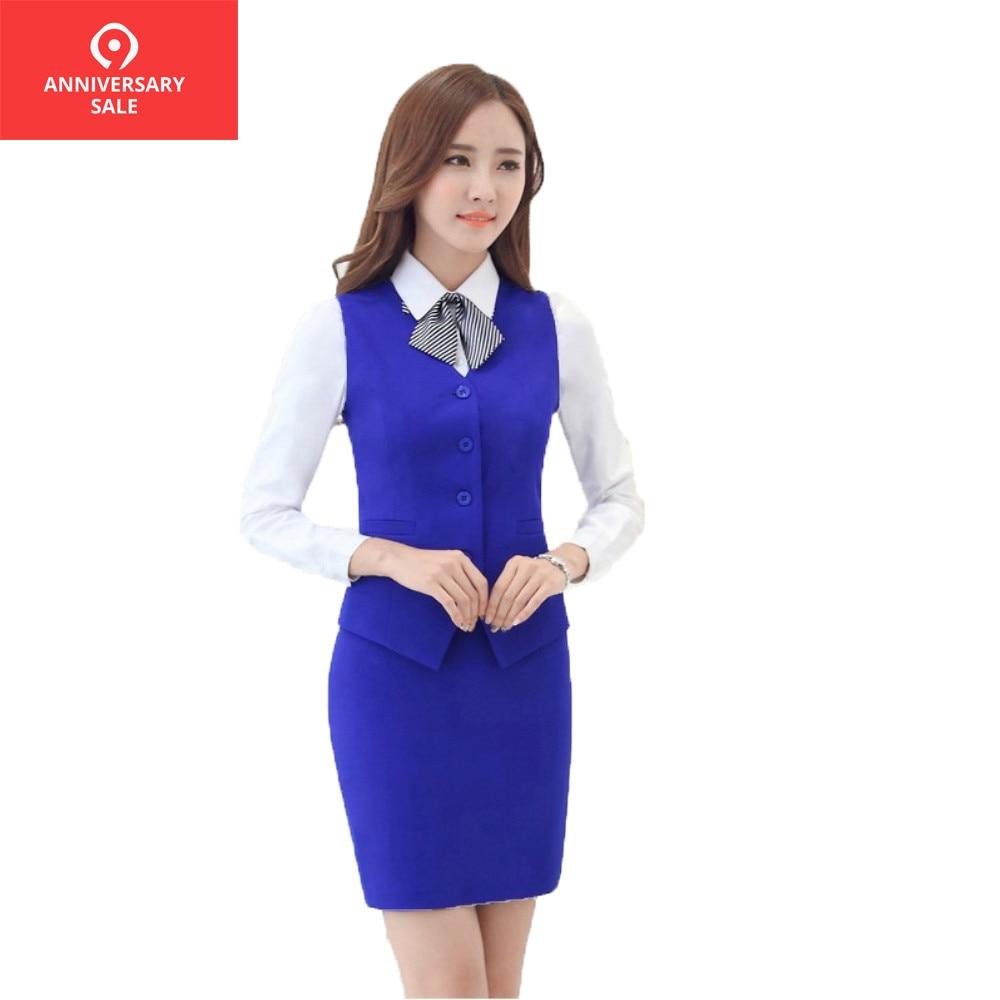 2019 New women Blue vest skirt suits female set formal Business V-neck Vest and skirt set work wear office ladies XXXL uniforms Принцесса Жасмин