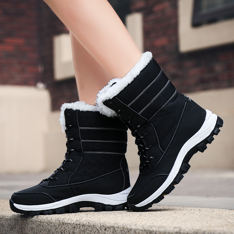 Waterproof Snow Boots Womens Shoes With Fur Winter Warm Flats Ankle Botas Anti slip Female Sneakers Zapatos Mujer Big Size 42-in Ankle Boots from Shoes