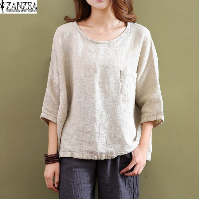 89a5736a808 ZANZEA Retro Womens Crew Neck Cotton Linen Blouses 3 4 Sleeve Pockets  Casual Loose Solid