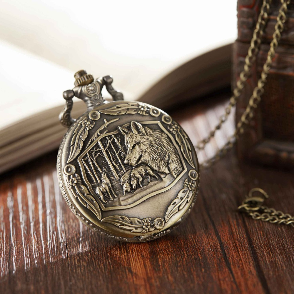 Retro Bronze Dog Wolf Pattern Quartz Pocket Watch With Necklace Chain Women Mens Cool Pendant Clock Classic Quartz Pocket Watch