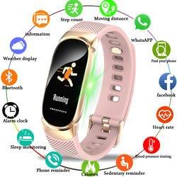 BANGWEI женские спортивные умные часы светодиодный светодиодные водостойкие SmartWatch пульсометр кровяное давление шагомер часы для Android iOS