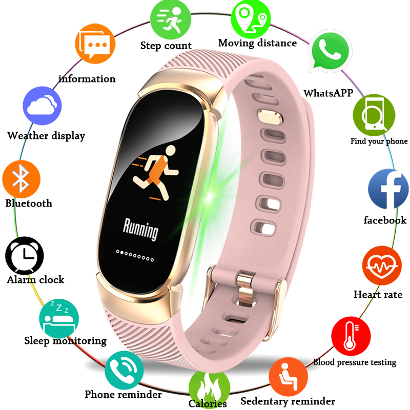 BANGWEI mujeres deporte inteligente reloj LED impermeable reloj inteligente de presión arterial podómetro reloj para Android iOS