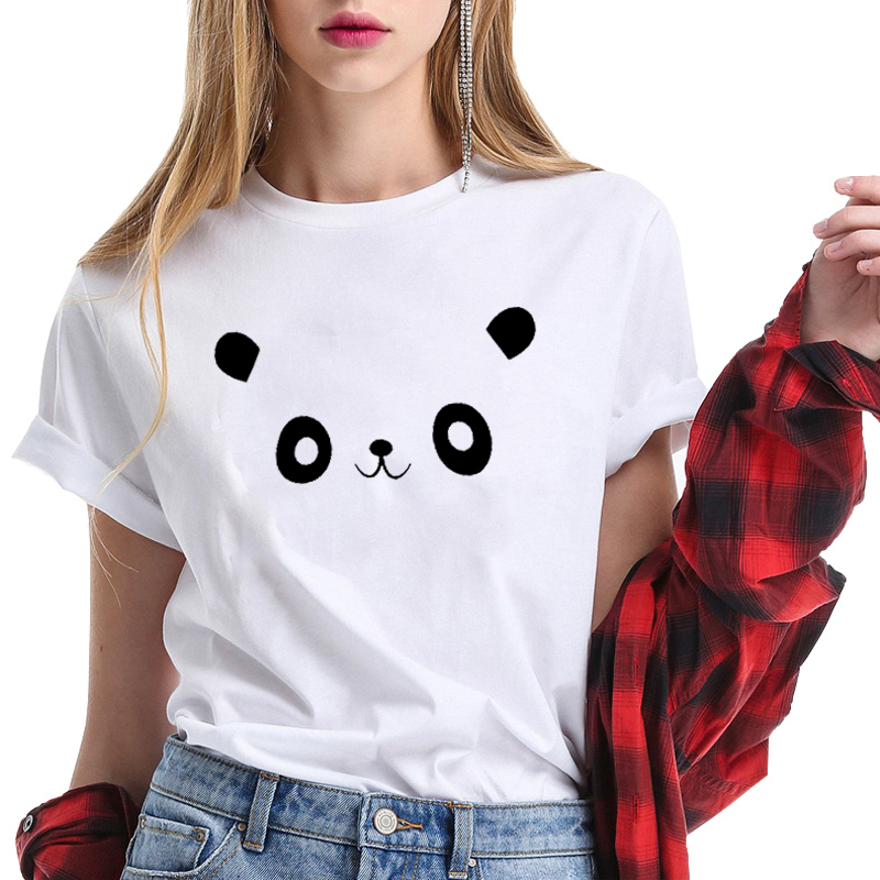 100% Cotton T Shirt Women Short Sleeve O-neck Funny Summer Tops Streetwear Women Tshirt Printing Panda Plus Size Clothing Brand Buy One Get One Free
