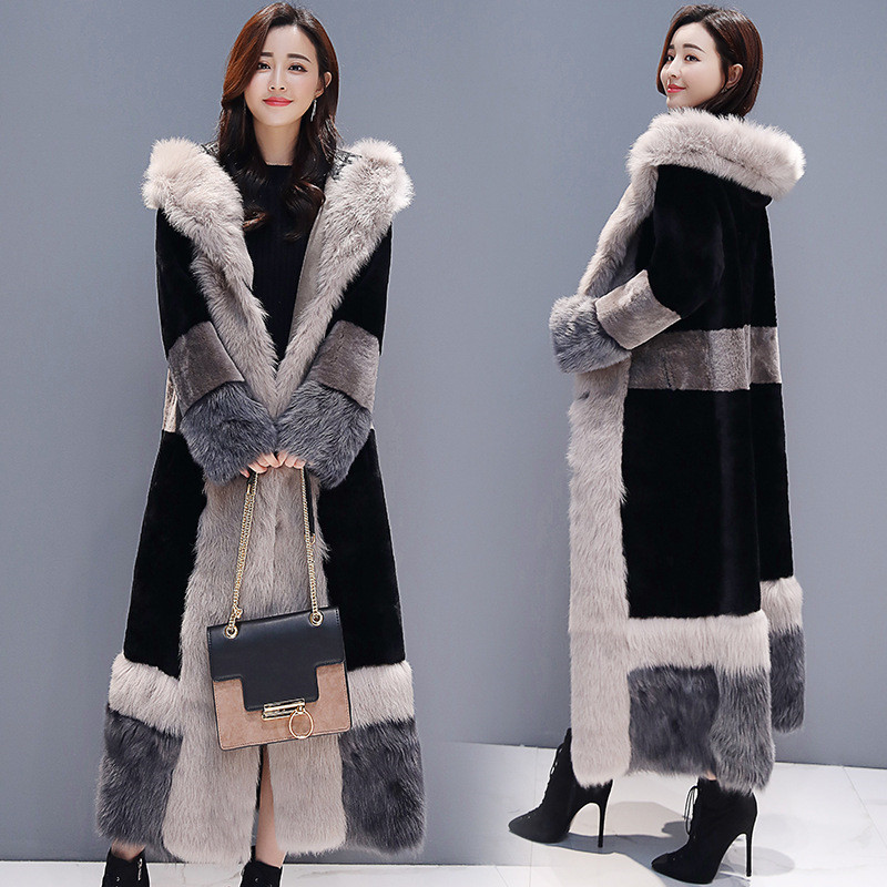 ANDVERY 2019 Новое поступление женский пуховик большого размера черный цвет верхней части с капюшоном плотное хлопковое длинное пуховое пальто ... - 2