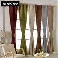 Современные однотонные хлопковые льняные затемненные занавески для гостиной  окна  занавески для домашнего оформления  занавески на заказ