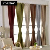 מודרני מוצק צבע כותנה פשתן Blackout וילונות לסלון חלון בית טיפול וילונות וילון תפור לפי מידה