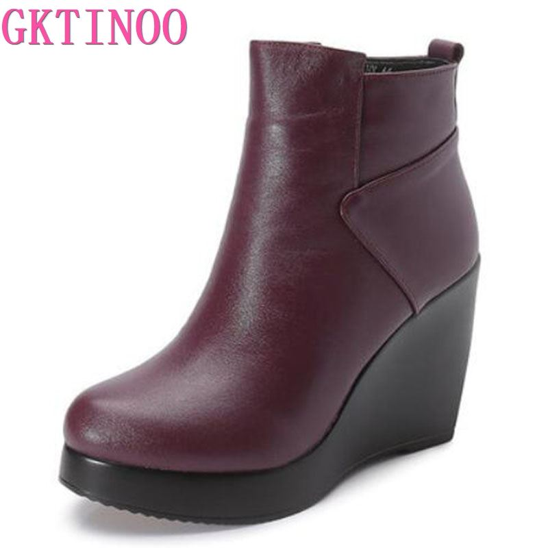 GKTINOO 2019 Genuine Leather Autumn Winter Boots Shoes Women Ankle Boots Female Wedges Boots Women Boot Platform Shoes