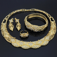 YIWU CZ Fashion Elegant Geometric Chunky Necklace Earrings Set Crystal Rhinestone Saudi Dubai Turkey Gold Plated