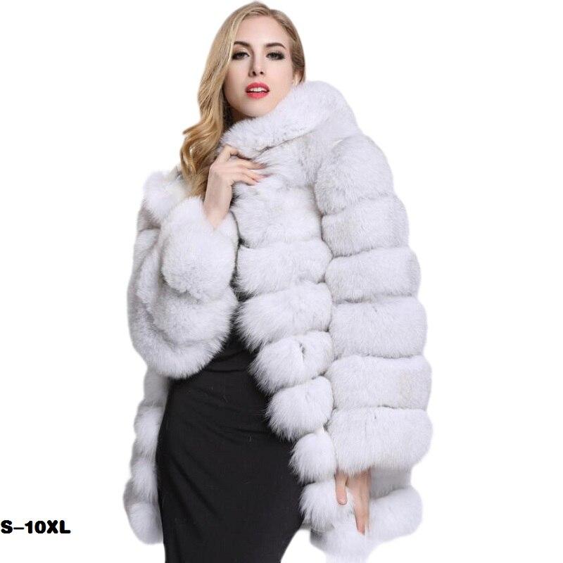 가짜 모피 코트 패션 casacas 파라 mujer invierno 2019 새로운 여성 모피 코트와 재킷 폭스 모피 코트 여성 긴 후드 코트-에서인조 퍼부터 여성 의류 의  그룹 1