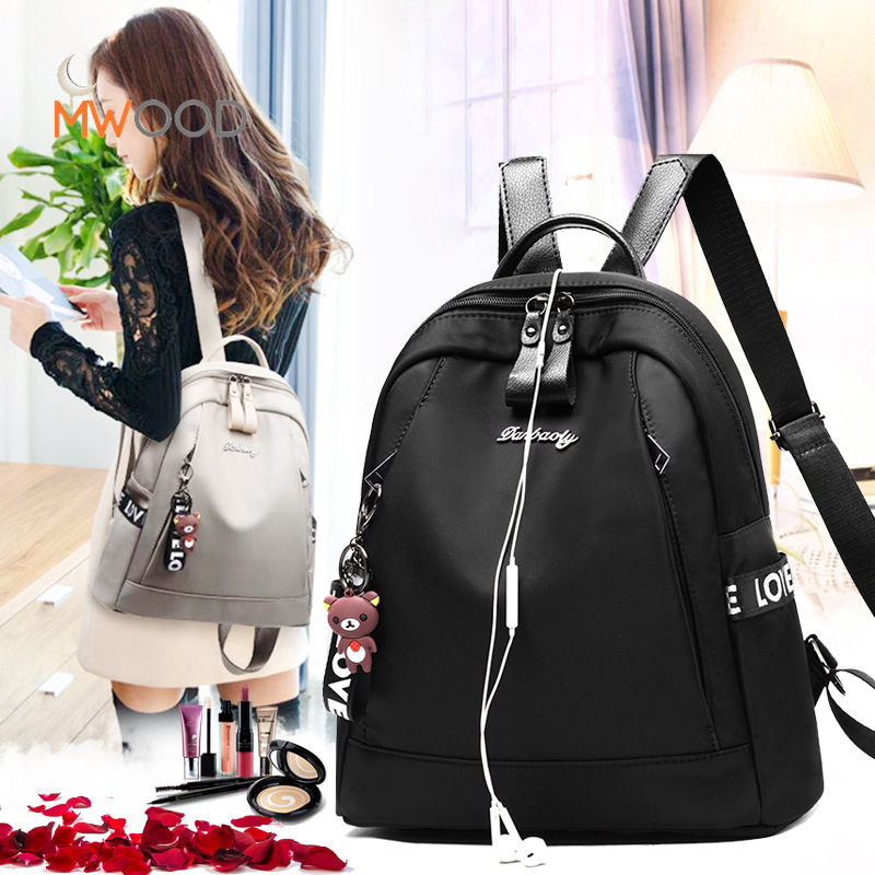 Women Oxford Korean Backpack Ladies Girls Student Teenager College Rucksack Waterproof Headphone Hole Bags Travel Causal B-108