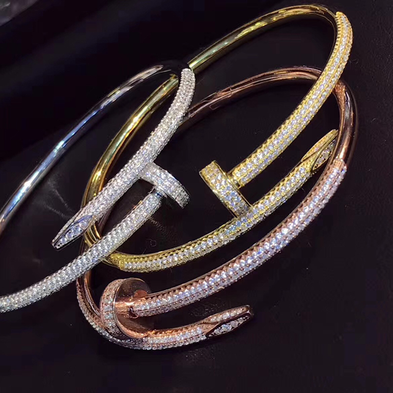 Hot Sell Brand Pure 925 Sterling Silver Jewelry For Women Rose Gold Nail Bangle Jewelry Silver Nail Bracelet Classic Top Quality 2016 hot sell classic 100