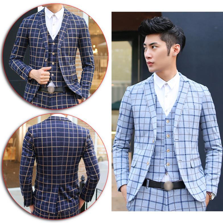 Novelty Men's Premium Slim Fit Check Pattern Suit 1 Button Jacket ...