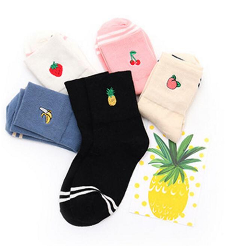Ladies//Girls Cream With Big Red Strawberries On Cotton Ankle Socks