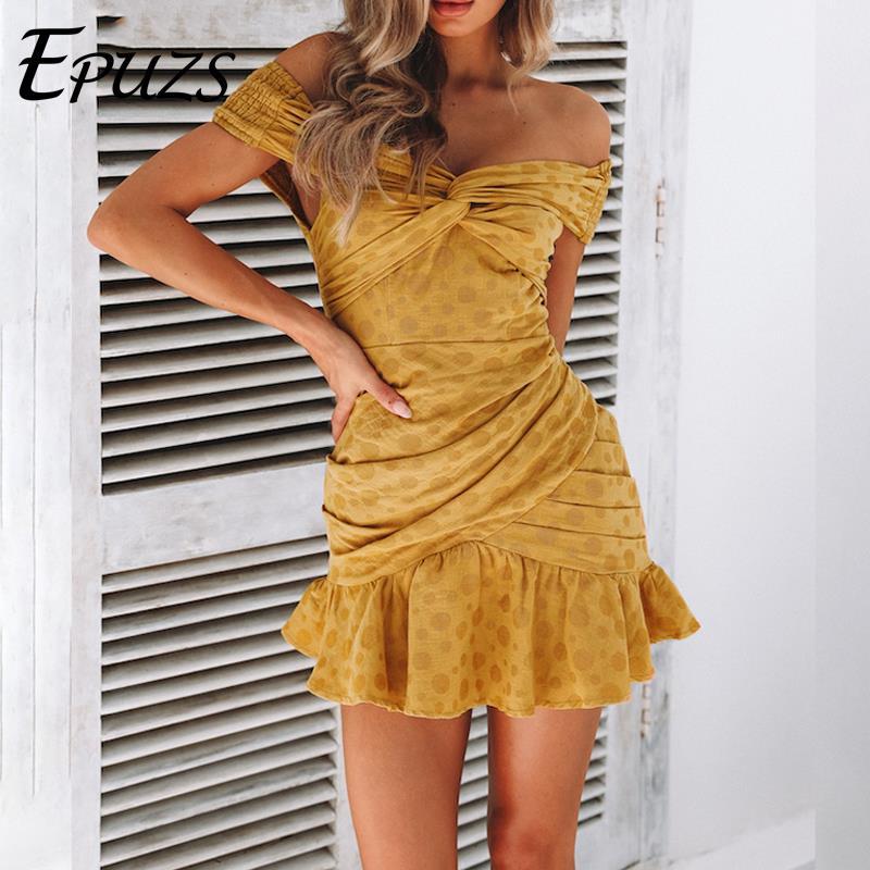 Sexy Off Shoulder Yellow beach Dress women vintage casual Ruffles Cotton mini Dress polka dot white party Dress boho Vestidos