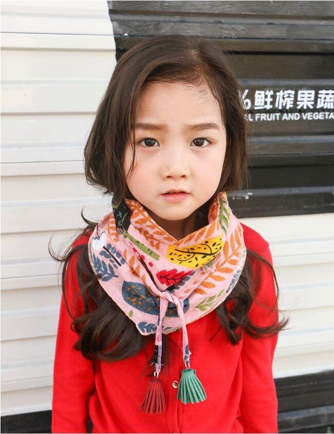 Silk Scarf Baby Shawl Tassels Small Triangle Girl Cloth of Children Korean Lead A-Piece