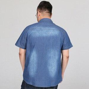 Image 3 - Chemises dété en Denim à manches courtes pour hommes, Streetwear Social Hombre Manga Corta 5XL, 6XL, 7XL, 8XL, grande taille Jeans décontractés