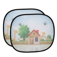 MOONBIFFY 2Pcs Cartoon Car Styling Curtain Anti Universal Car Window Baby Sun Shades Blocks Harmful UV