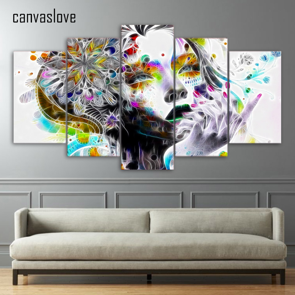 Living Room Canvas Paintings Aliexpresscom Buy Hd 5 Pieces Canvas Paintings Printed Woman