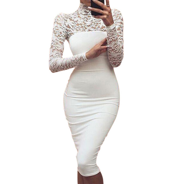 Полые Простые Женщины Кружевные Платья Осень С Длинным Рукавом Bodycon Обертывания Платья Плотно Ладис Офис Вечернее Платье Негабаритных Белые Платья