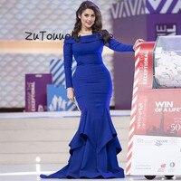 vestidos de fiesta de noche Royal Blue Arabic Mermaid Evening Dresses Long Sleeve Fishtail Tight largos robe de soiree longue