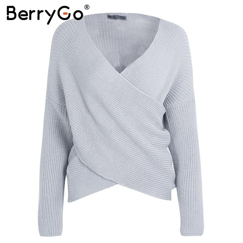 Aliexpress.com: Comprar BerryGo Sexy cuello pico Cruz tejer invierno ...