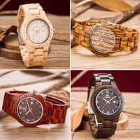 Newest Mens Dress Wood Watch UWOOD Men Wooden Quartz WristWatch Calendar Display Bangle Natural Wood Watches