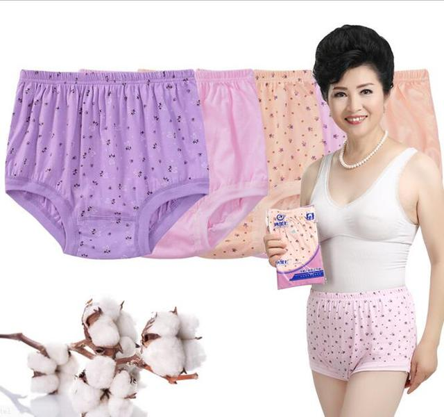 af550e119c8c Cotton Mother Print Briefs Middle-aged And Old Underwear Women's High Waist  Panties Comfortable breathe freely Big Yards AB016