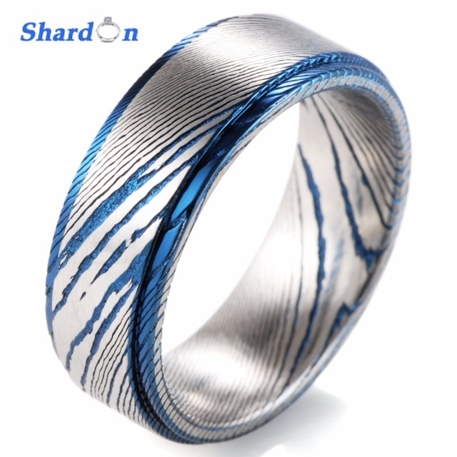 Shardon Wedding Engagement Jewelry Men S Rings 8mm Trendy Damascus Steel Ring Band