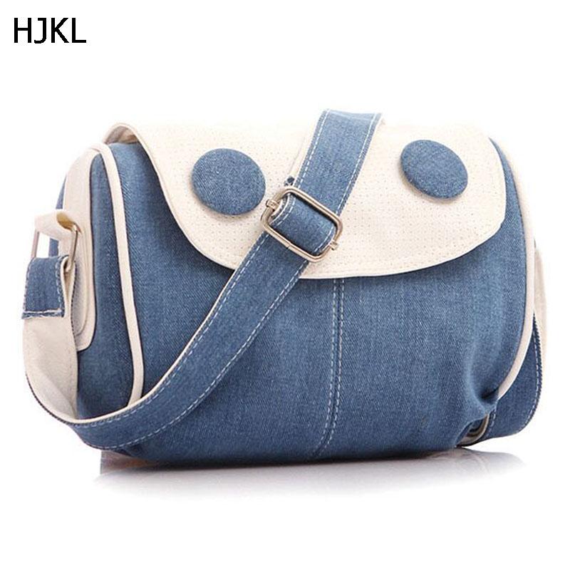 HJKL 2018 Brand Women Small Denim Shoulder Messenger Bags Patchwork Beach Bag Adjustable Strap Crossbody Bolsa sac a main D