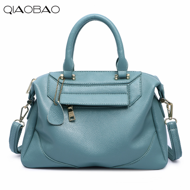 Фото QIAOBAO New European and American fashion brand Leather handbags Boston bag pillow Messenger bag shoulder bag